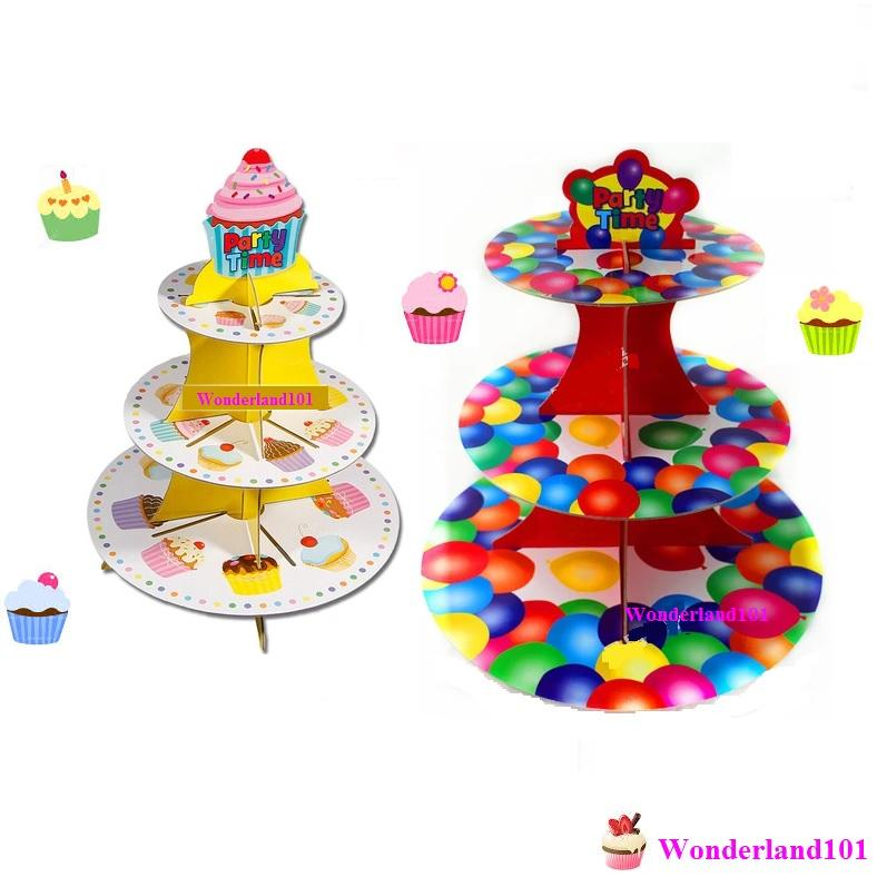 diy assemble cardboard paper cupcake stand 3 tier party time