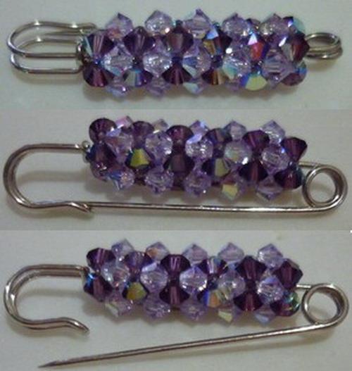 DIY Handmade Swarovski Crystal Beads Brooch Pin