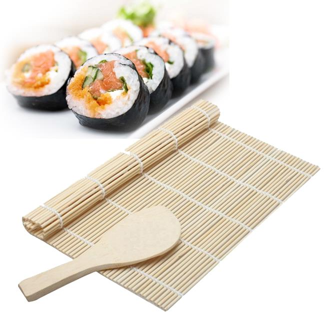 DIY Japan Sushi Rolling Maker Bamboo Mat with Paddle