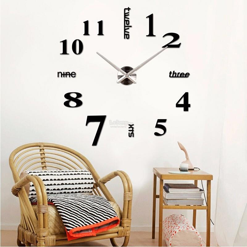 diy large mirror wall sticker clock 3 (end 8/8/2020 5:15 pm)