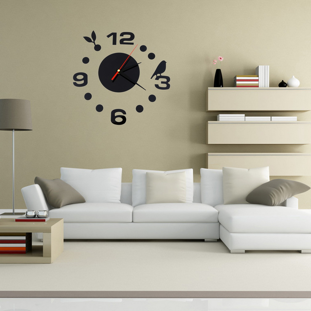 Diy large wall clock home office roo end 1232018 501 pm diy large wall clock home office room decor 3d mirror surface sticker amipublicfo Images