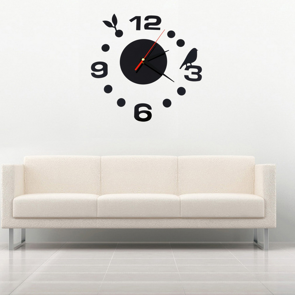 Diy large wall clock home office roo end 1232018 501 pm diy large wall clock home office room decor 3d mirror surface sticker amipublicfo Choice Image