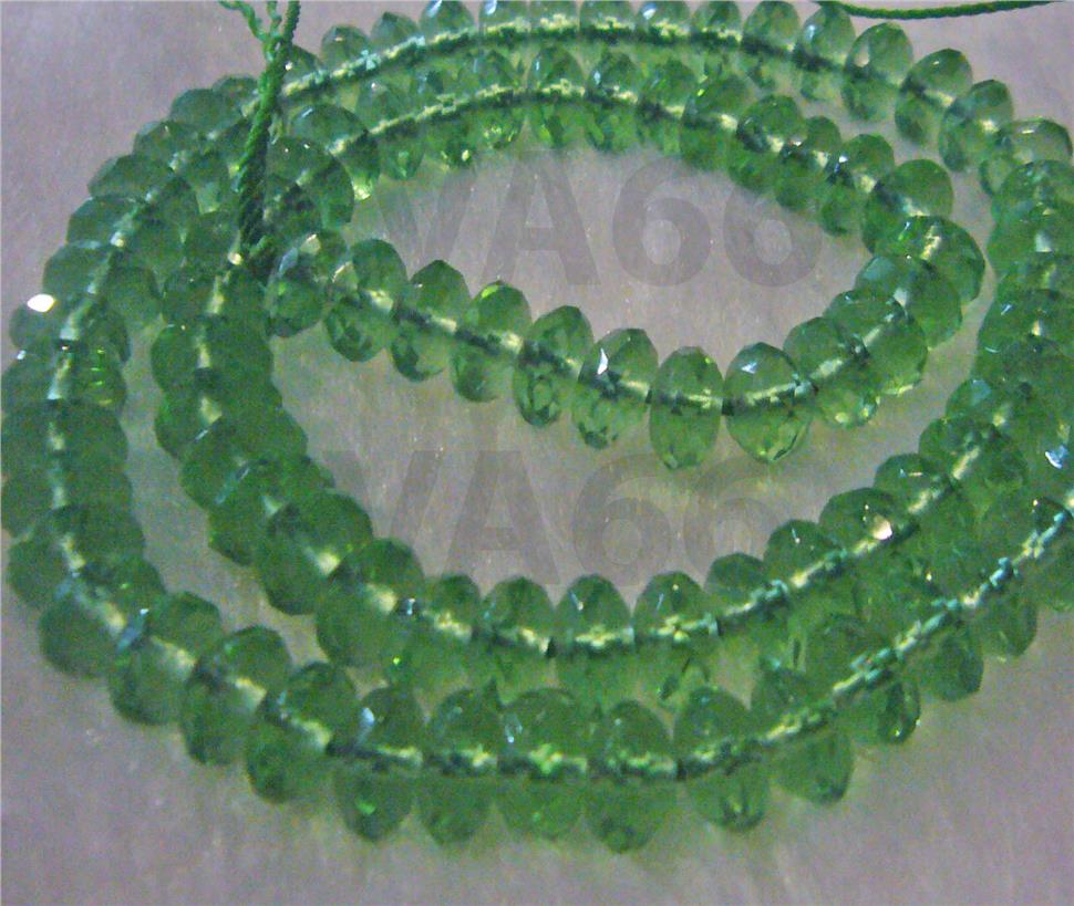 DIY Natural Peridot Green Obsidian Facetted Donut 8mm Gemstone Disc