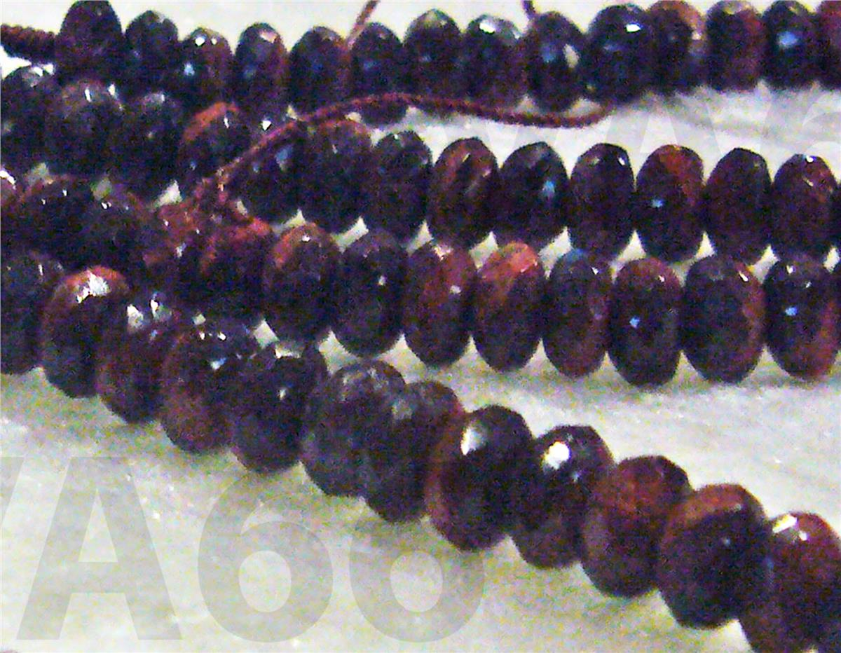 DIY Natural Red Tiger Eye Facetted Donut Gemstones Rondelles 3mm 6mm