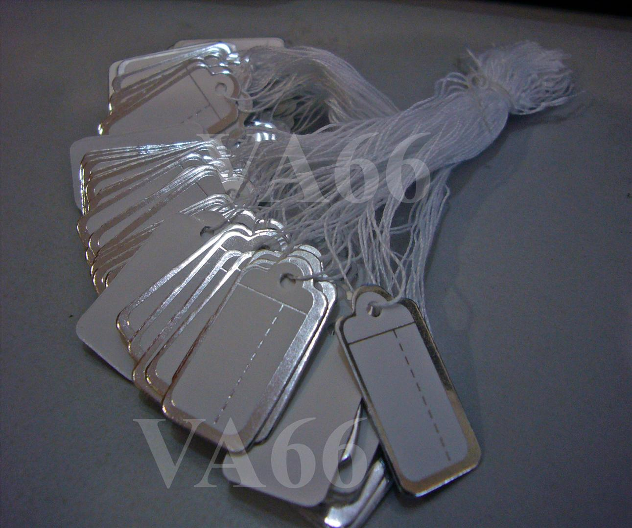 DIY Price Tags with string 100p Silver n White Pricing Solutions