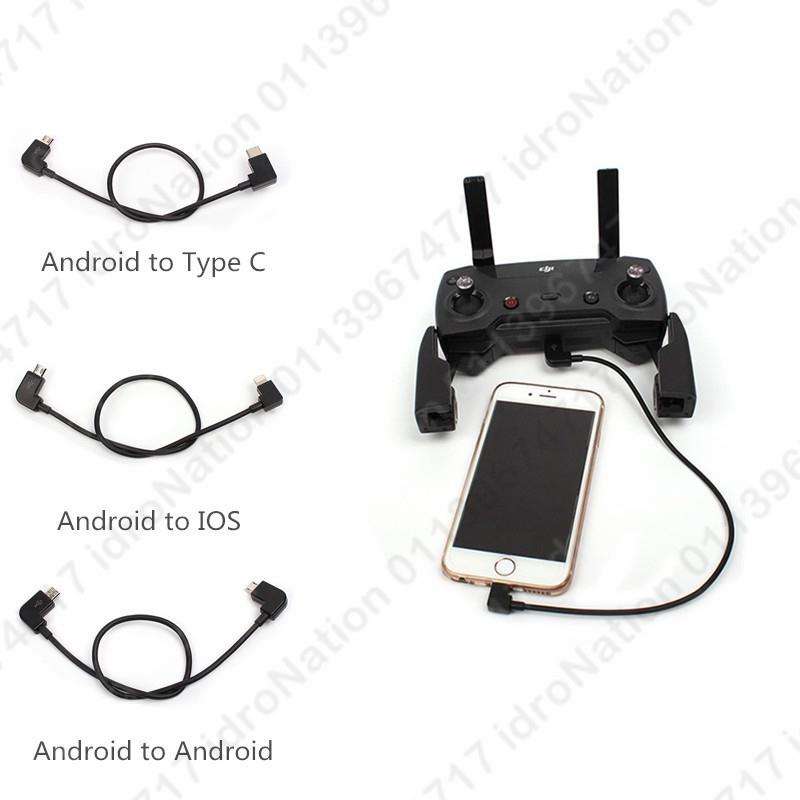DJI Mavic Spark Remote Connectors Cables Android iPhone Micro Usb Type