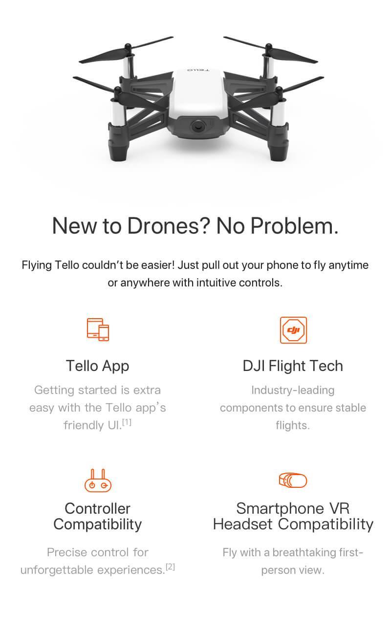 DJI Ryze Tello Programmable Quadcopter Drone| HD Camera and VR