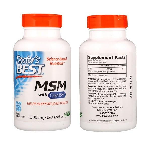 Doctor's Best, Best MSM 1500, 1500 mg, 120 Tablets (USA)