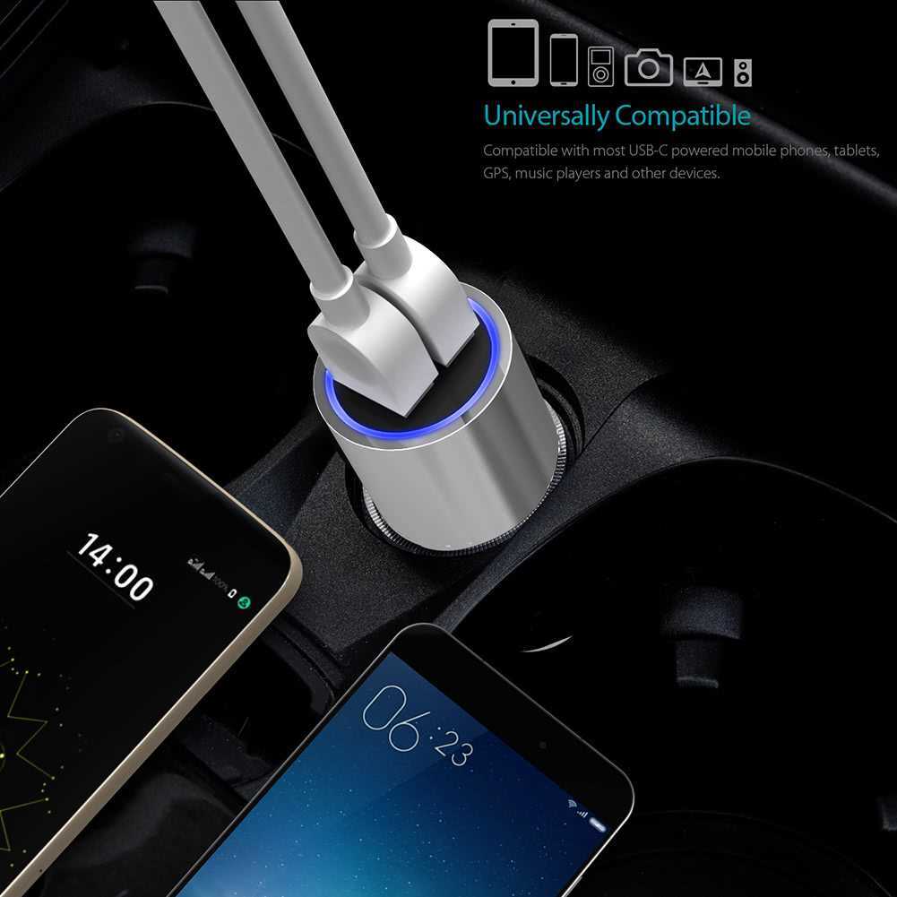 dodocool 33W Dual Type-C Ports Car Charger with 18W QC 3.0 Type-C Outp