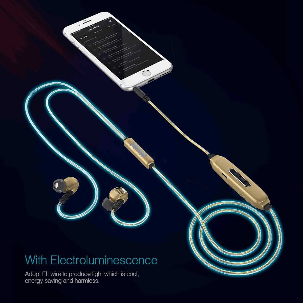 dodocool EL Glowing Blue Light In-Ear Stereo Sport Earphones 3.5 mm