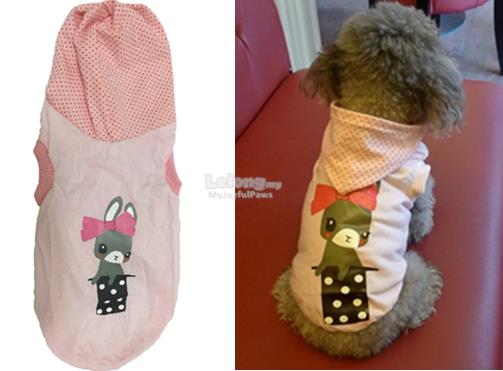 Dog Clothes / Apparel : Pink Bunny Cute Hoodie Medium