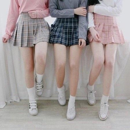e7ae73e15 DOLLYPOODY Korean Student Checked Design High Waist A-Line Pleated Mini  Skirt. ‹ ›