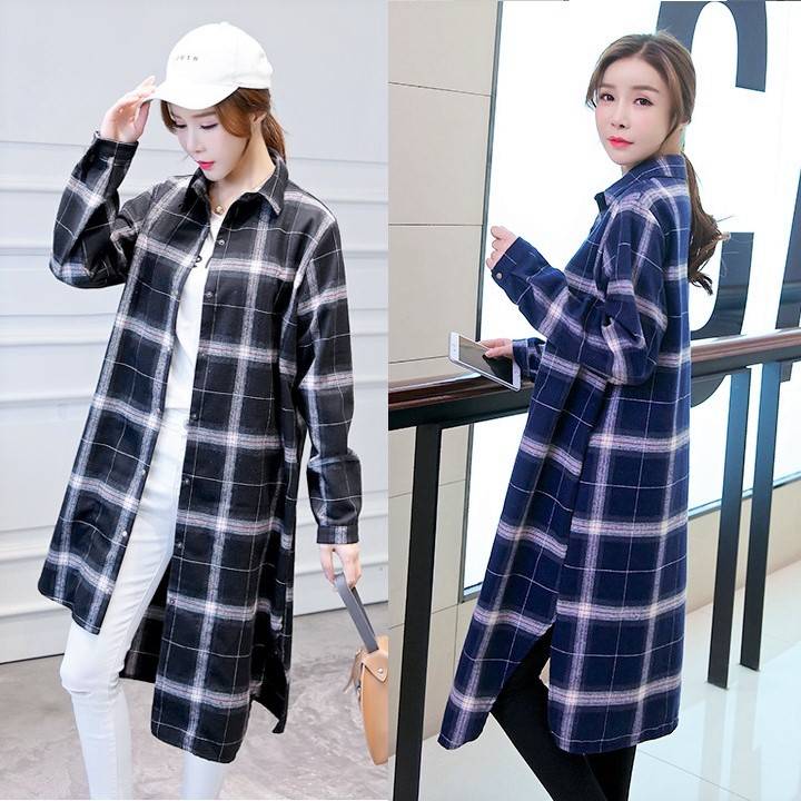 DOLLYPOODY Women Plus Size Plaid Irregular Shirt Dress - Black/Blue DP00449