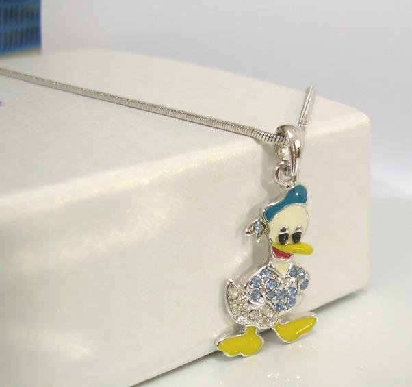 DONALD DUCK STYLE Pendant Chain 18KWGP Bling Colourful Gift