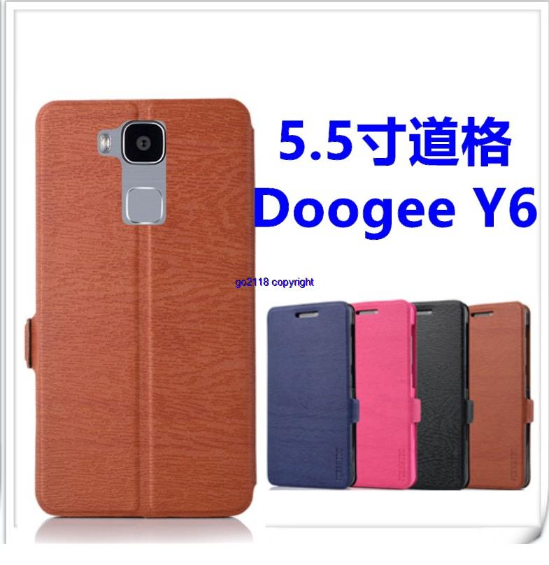 Doogee Y6 PU Leather Wood Pattern Magnetic Flip Case Cover Casing