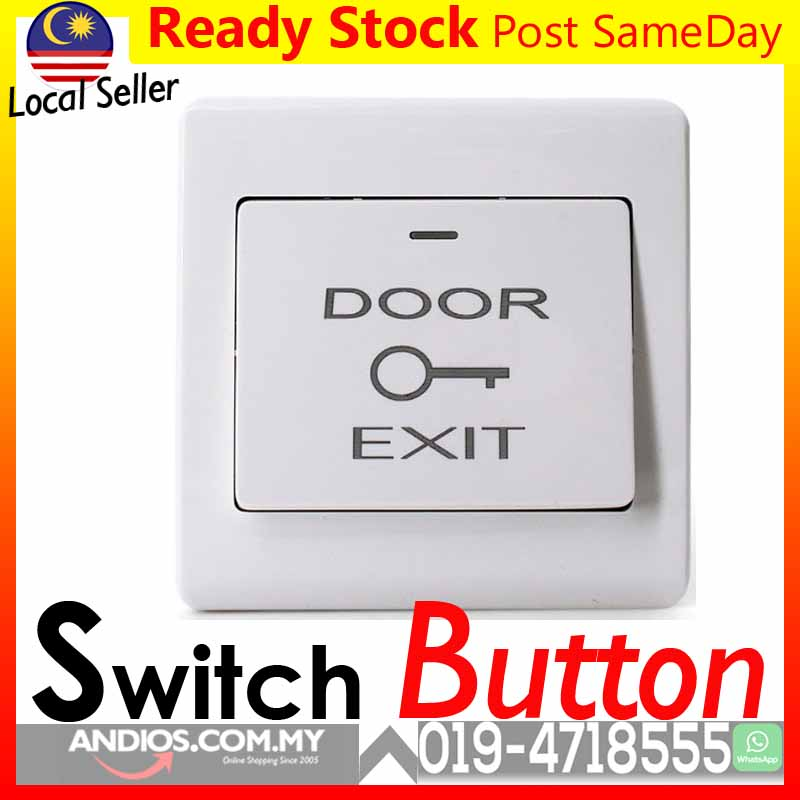 Door Exit Access Touch Push Button White Butang Pintu Keluar CCTV Alar