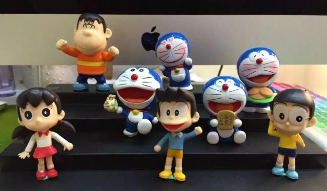Doraemon 8pcs collection cake topper 42years anniversary