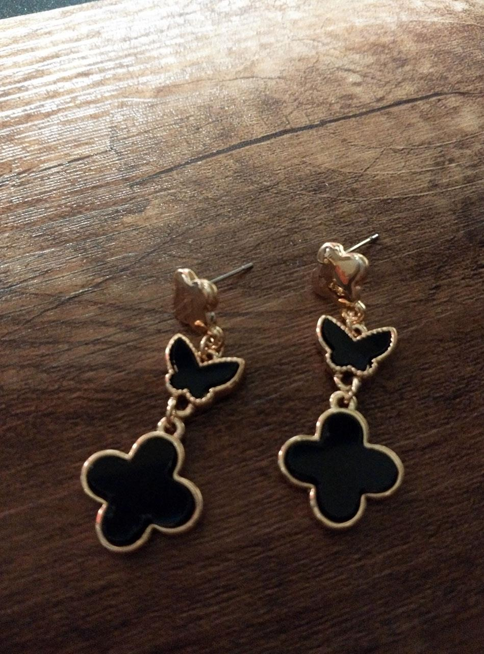 Double Black Flower Earing & Arm
