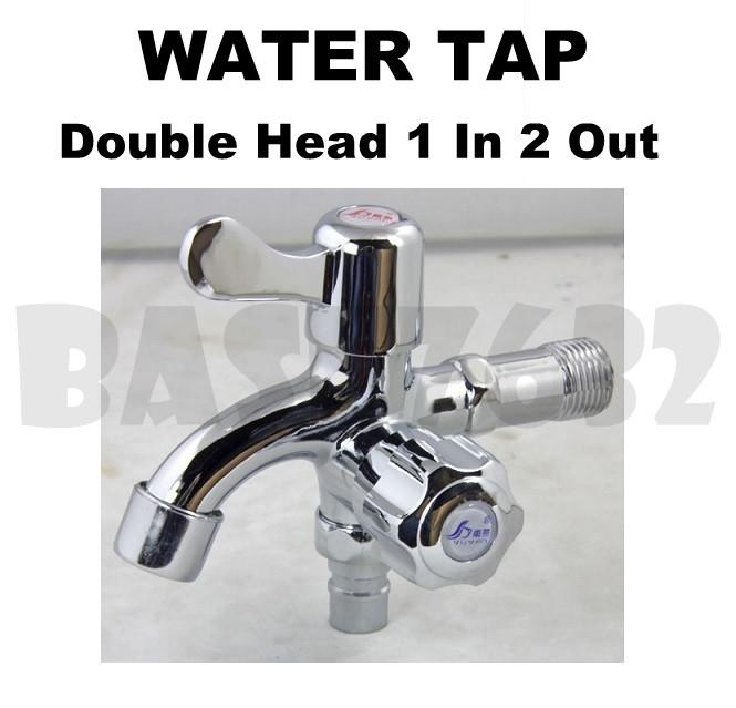 Double Head 1 In 2 Out Two Way Wall Water Tap Faucet Double Handle