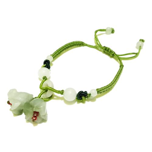 The Double Jade Flowers Charm Bracelet