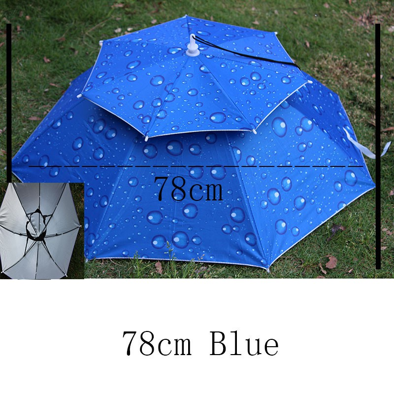 Double Layer dgtl Camo Fishing Cap Rain Uv Umbrella For - [WATER BLUE]