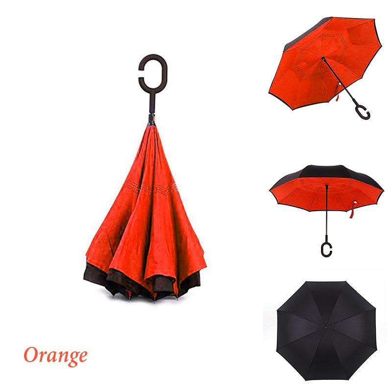 Double Layer Inverted Reverse Multi Purpose Umbrella (Orange)