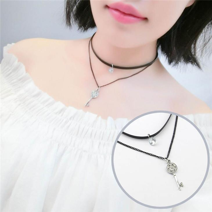 Double Layer Leather Clavicle Necklace (Key)