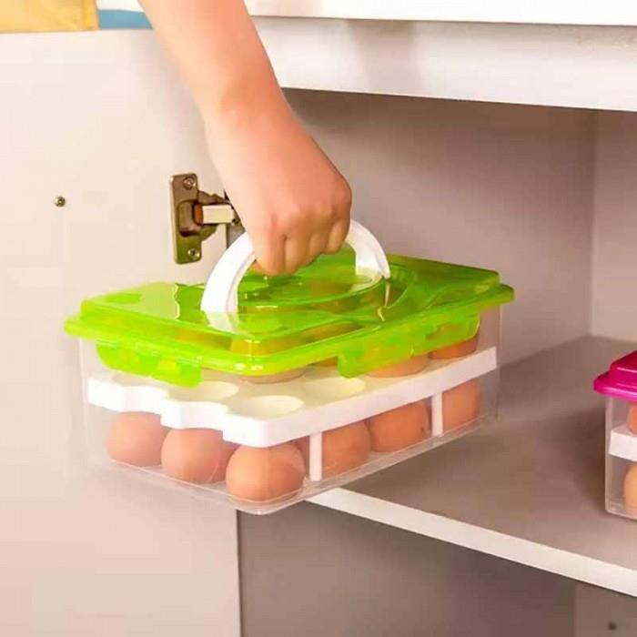Double Layers 24 Grid Egg Box Food Container Organizer Convenient Box