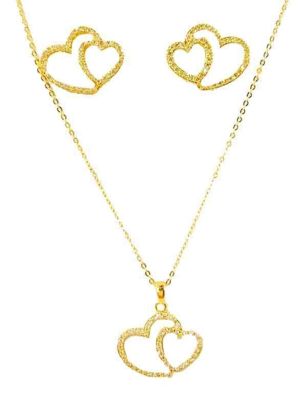 Double Love Necklace and Earing Set