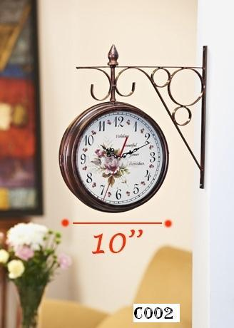DOUBLE SIDED  WROUGHT IRON WALL CLOCK