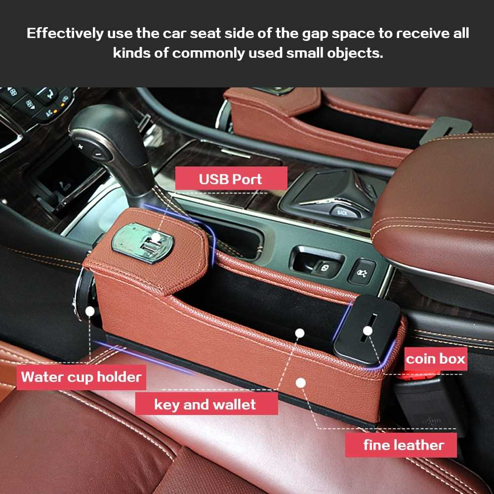 Double USB Port Multifunction Leather Catcher Box Car Seat Cup Coil