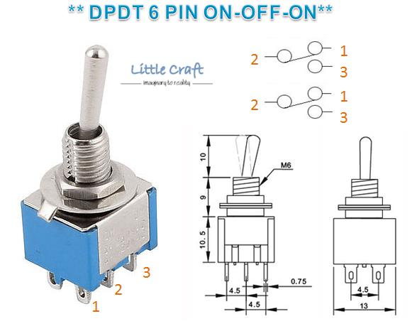 DPDT 6 Pins 2 Position Miniature Togg (end 7/2/2019 6:15 PM)