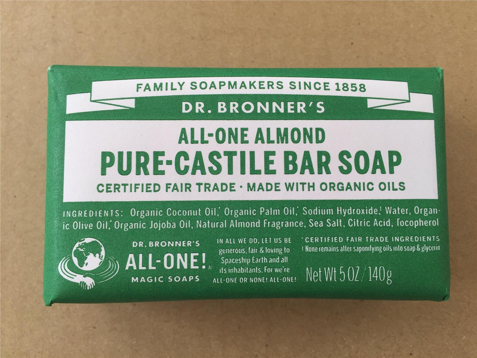 Dr Bronner's Magic Soaps, Almond Castile Soap Bar (140g)