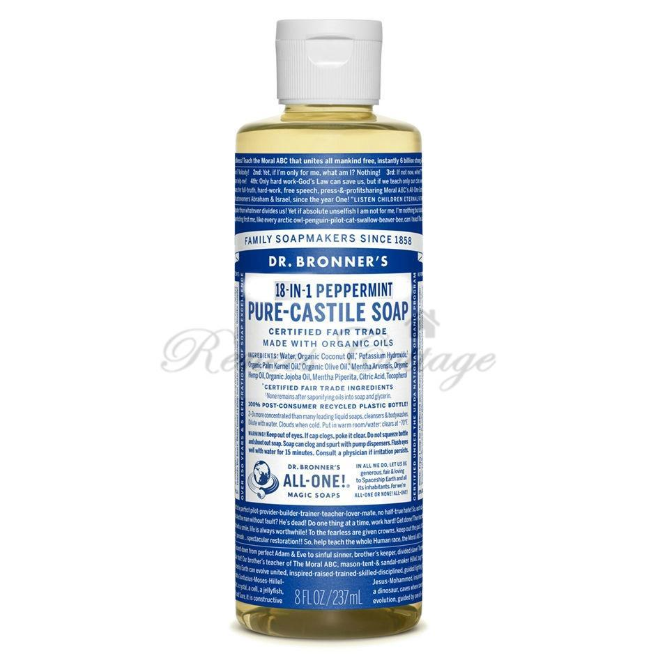 Dr. Bronner's Magic Soaps,Peppermint Liquid Castile Soap(237ml, 473ml)