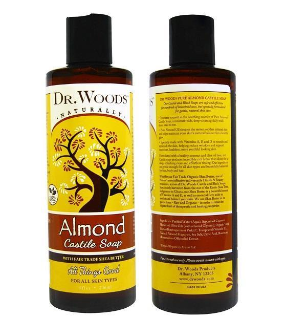 Dr. Woods, Almond Castile Soap, Fair Trade (236 ml) Made In USA