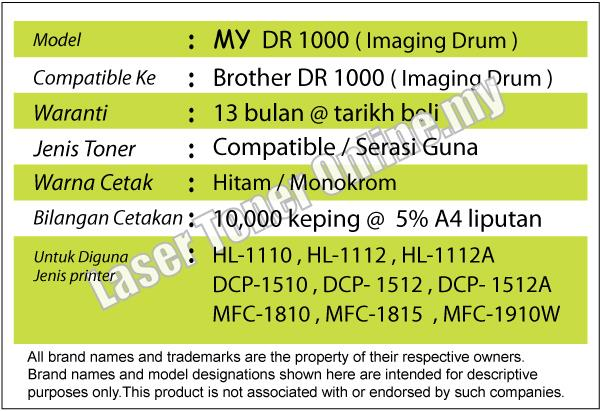 MY DR1000/DR 1000 Drum Cartrige@Brother HL 1110 1112 DCP 1510 1512
