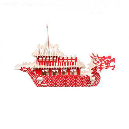 Dragon Boat Festival Model 3D Three-dimensional Wooden Puzzle DIY Hand