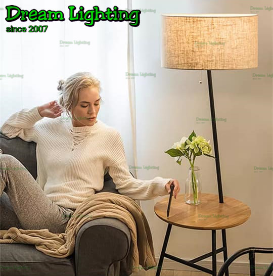 Dream Lighting Floor Lamp With Wine Barrel Wood Table / 9015 / Beige /