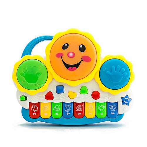 Drum Keyboard Musical Toys With Flashing Lights, Animal Sounds & Songs
