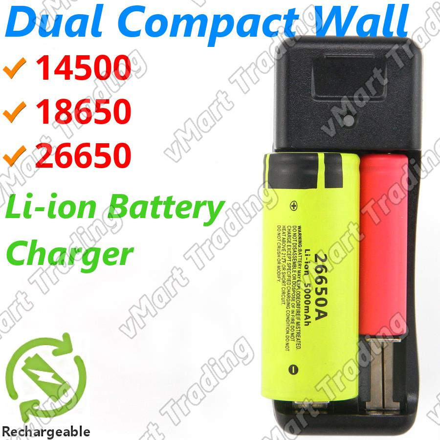 Dual 14500 18650 26650 Li-ion AA AAA Ni-Cd Ni-Mh Battery Charger on