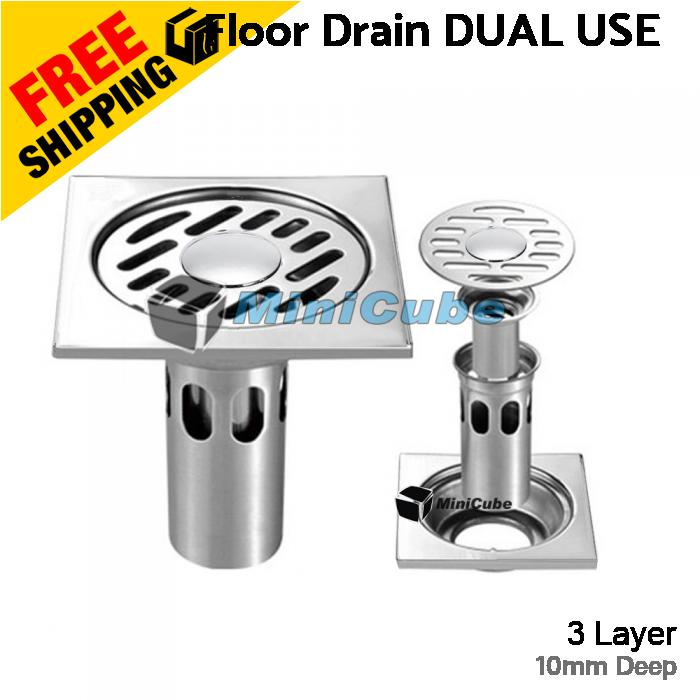 Dual Use Floor Drain 10cm 3layer Anti Odour DEEP FLOOR StainlessSteel