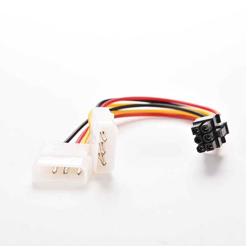 Dual Molex (4 Pin) to PCI-E (6 Pin) Power Converter Adapter Cable