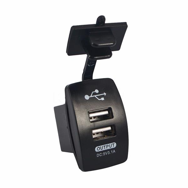 New Dual Port Car Usb Charger Switches 5v 3 1a Outlet Power Socket