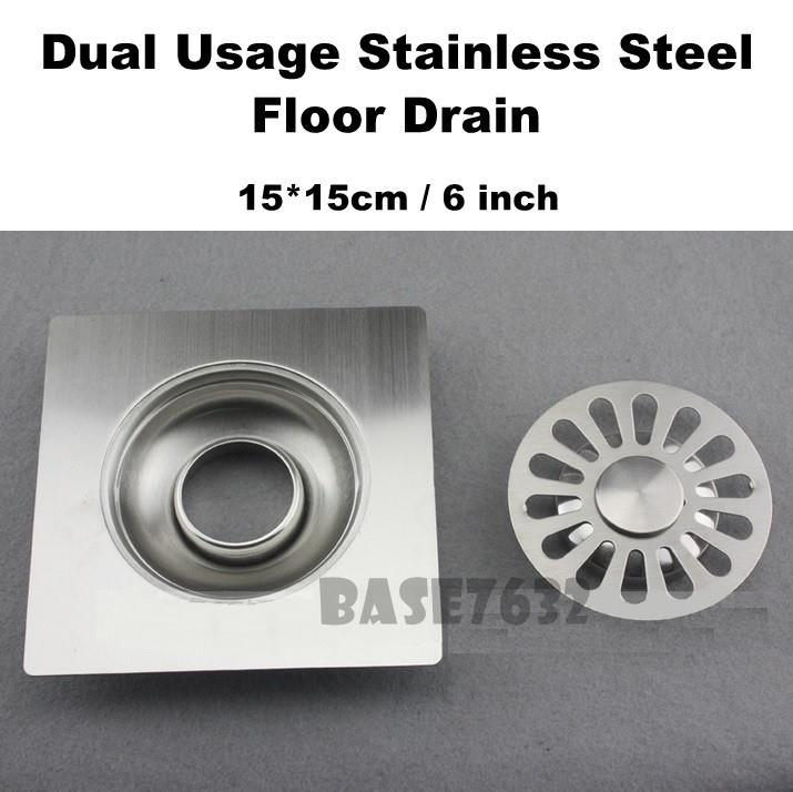 Dual Use  Stainless Steel Floor Drain Drainer Cover 15*15cm 6 inch