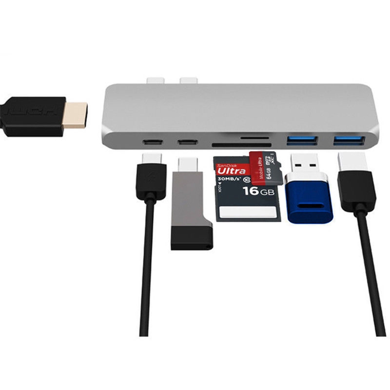 Dual USB C 7 In 1 USB 3.0 Type-c Hub HDMI Rj45 Adapter For MB - [GREY]