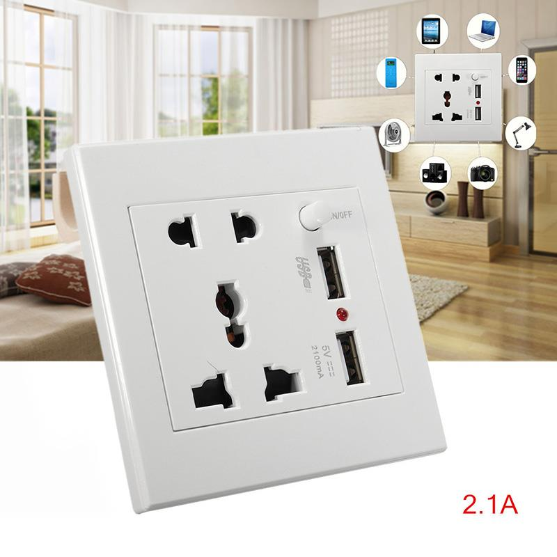 Dual USB charger Ports Universal Wall Power Socket Outlet Face Adapter
