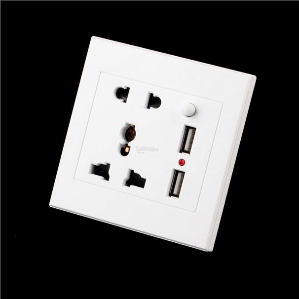 Dual USB Electric Wall Charger Dock Station Socket Power Outlet Panel