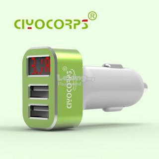 Dual USB Phone Car Charger With Voltmeter Monitor