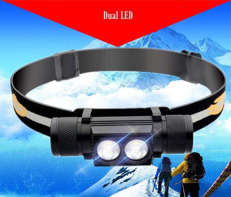Dual XM-L2 USB Rechargeable LED Headlamp IPX6 Waterproof Headlight