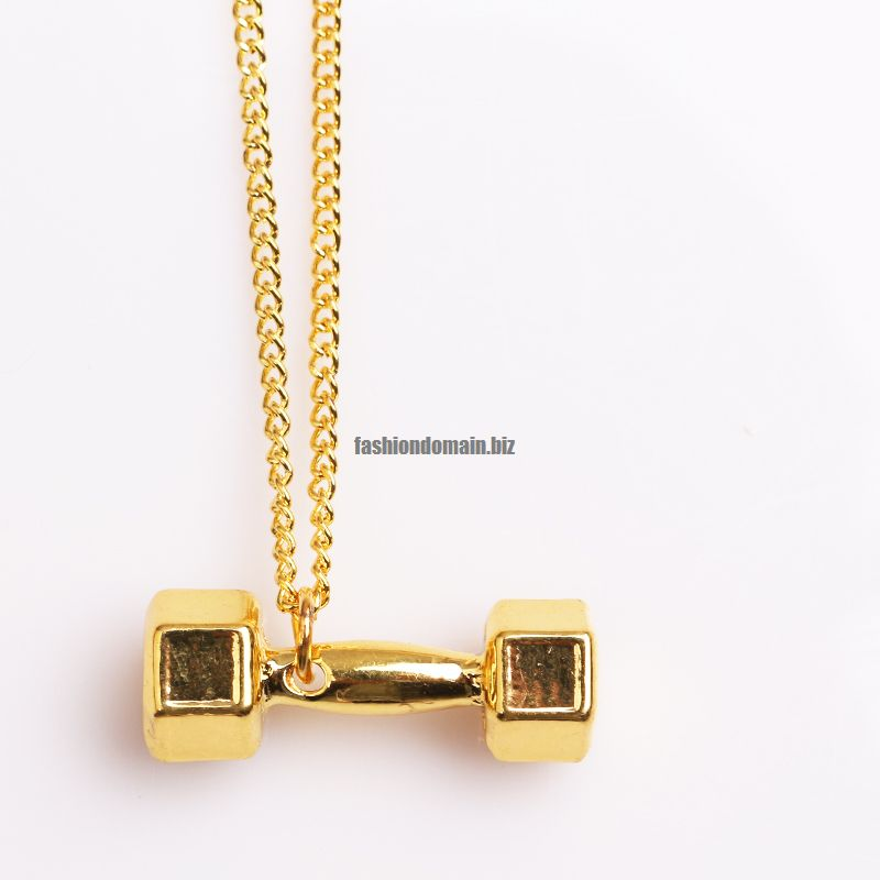 plated plate dumbbell double gold necklace product
